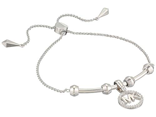 Michael Kors Women's Precious Metal-Plated Sterling Silver Starter Slider Bracelet with Logo Charm Silver One Size