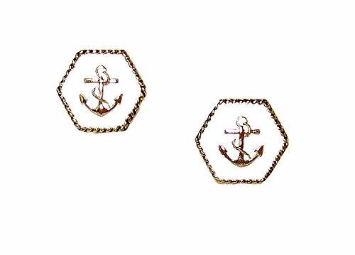 [Goldtone White Nautical Anchor Fashion Stud Earrings] (Little Honey Bee Girls Costumes)