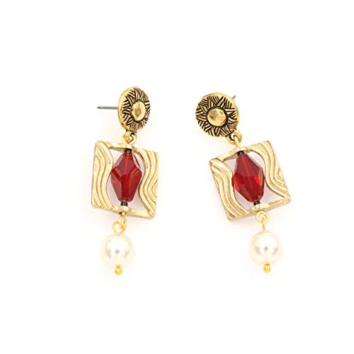 Swarovski Crystal Pearl Framed Earring - Siam Red Polygon, White, Wavy Frame, Ethnic Sun Design 1.5-in