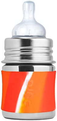 e8b811e03e Pura Kiki 5oz / 150ml Stainless Steel Infant Bottle with Silicone Natural  Vent Nipple & Sleeve, Orange Swirl (Plastic Free, NonToxic Certified, BPA  Free)