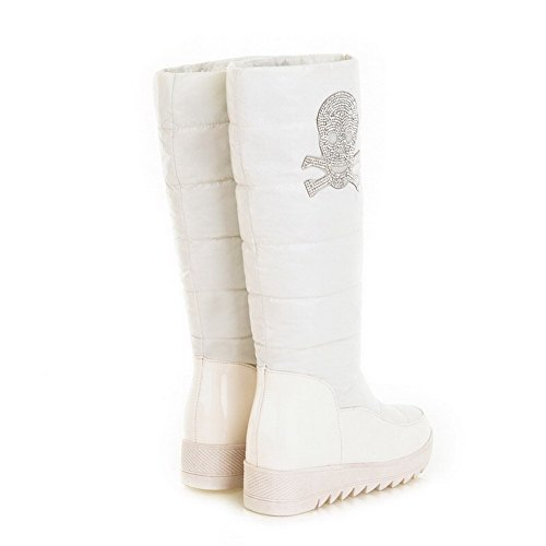 Heels Solid Material Round M 9 B US PU PU Low Toe 5 Womens with Boots AmoonyFashion Closed Diamond White Glass Soft qw8g4vcx