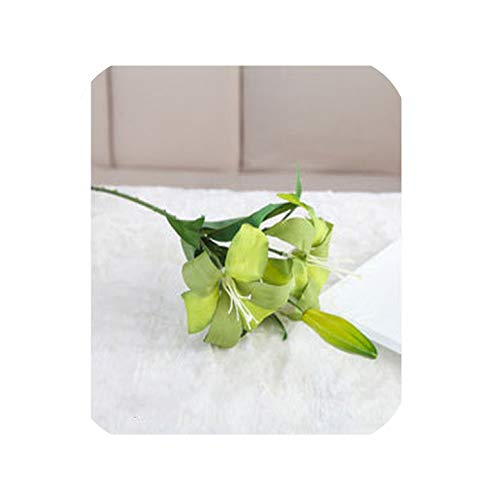 (1PC Silk Flowers Fake Lily Flower Bride Bouquet Wedding Decoration Party Office Home Decor Real Touch Flowers Artificial Crafts,Green)