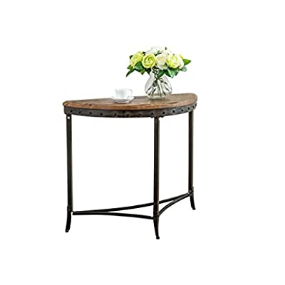 Distressed Handcrafted Solid Pine Wood Topped Half Moon Shaped Black Iron Nailhead Trim Accent Console Table Includes Our Exclusive Mousepad