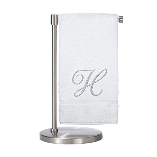 Monogrammed Bath Towel, Personalized Gift, 27 x 54 inches - Set of 2 - Silver Script Embroidered Towel - 100% Turkish Cotton- Soft Terry Finish - for Bathroom or Spa - Script H White (Monogrammed Towels Bath)