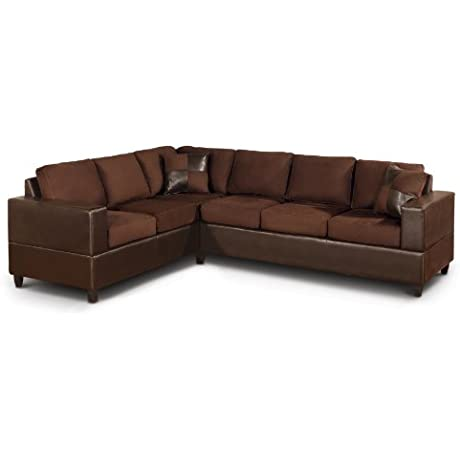 Bobkona Trenton 2 Piece Sectional Sofa With Accent Pillows Chocolate