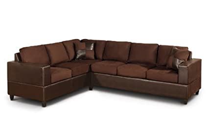 Bobkona Trenton 2 Piece Sectional Sofa With Accent Pillows, Chocolate