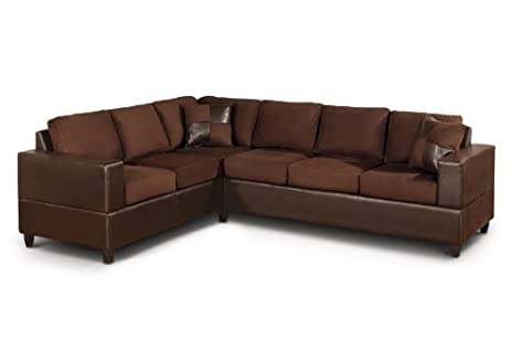 Amazoncom Bobkona Trenton 2Piece Sectional Sofa with Accent