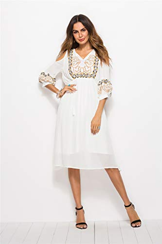 Xinsy Women's Thai Ethnic Style Embroidered Dress Strapless Slimming Holiday Dress,White,L ()