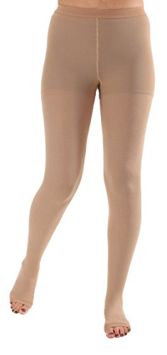 Absolute Support Open Toe Opaque Compression Stockings 20-30mmHg - Graduated Support Hose, Medical Pantyhose for Women - SKU A214BE3 ? Beige Size Large