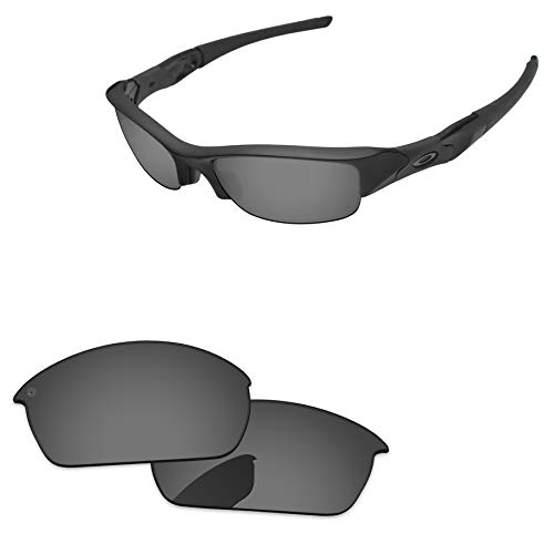 PapaViva Lenses Replacement for Oakley Flak Jacket Pro+ Black Chrome Polarized
