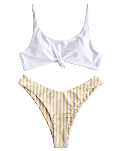 ZAFUL Womens Contrast Striped Knot 2 Pieces Bikini Set Straps High Cut Bathing Suit (Yellow, L)