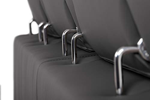 aquinos Confort24 John Canapé d'angle Convertible Reversible 3 Places ou 4 Places Chaise Longue d'angle Droit ou Gauche Appui-tête Réglable 2 Pouf Noir Salon Décoration Maison Similicuir