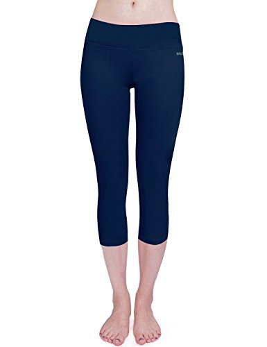 Baleaf Women's Yoga Capri Pants Workout Running Legging Inner Pocket Dark Blue Size L