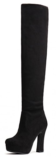 IDIFU Women's Fashion Stretchy Chunky Platform Over Knee High Boots Black 7 B(M) US (How To Wear Thigh High Boots)