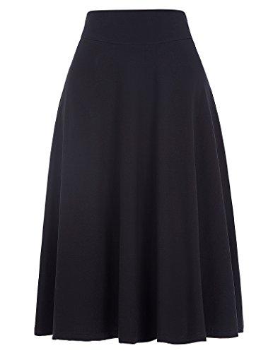 Kate Kasin Womens Casual Haute Wasit Stretchy Jupe A-Ligne Coton Pliss Jupe GF279 Noir (Kk279-1)