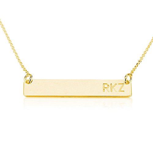 Bar Necklace Personalized Name Necklace 18k Gold Plated Custom Made Any Name (18 Inches) (Gold Bar Necklaces compare prices)