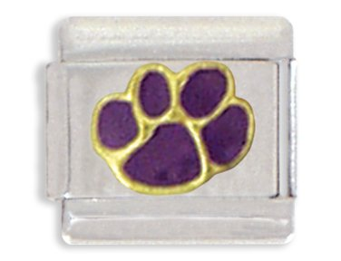 Clearly Charming Purple Paw Print Italian - Lion Italian Charm