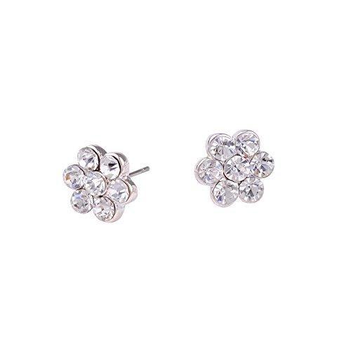 Flowers Rhinestone Stud - Topwholesalejewel Bridal Earrings Womens Silver Crystal Small Flower Stud Earring