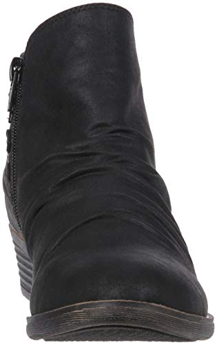 Suede Fab Bootie Heel Back Black Trendy Boot Ankle Women's Tali Casual with Sugar Low Details Scrunch Strap wCFqaxBZ