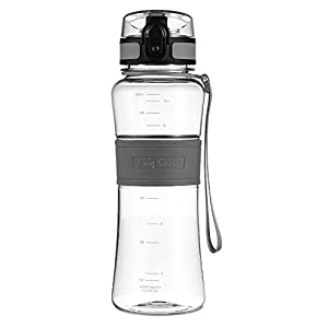 Swig Savvy Bottles 18 oz Triton Water Bottle Eco Friendly & BPA-Free Leak Free One-Click Flip Top open Ideal For Sports Yoga Camping Biking & Jogging (Gray)