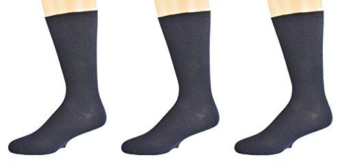 Sierra Socks Men's Diabetic Cotton Dress Casual Crew Ribbed Smooth Toe M11 (Shoe Size 10-12, Sock Size 10-13, Navy 3 Pair)