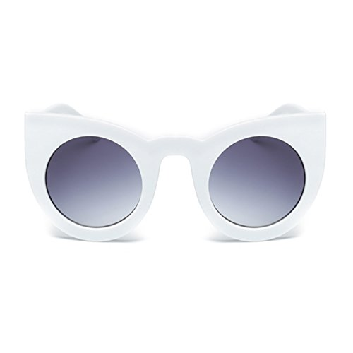 Armear Cat Eye Sunglasses Round Lens Women Thick Frame Gradient Shades (White,gray lens, - Round Sunglasses For Face Cat Eye