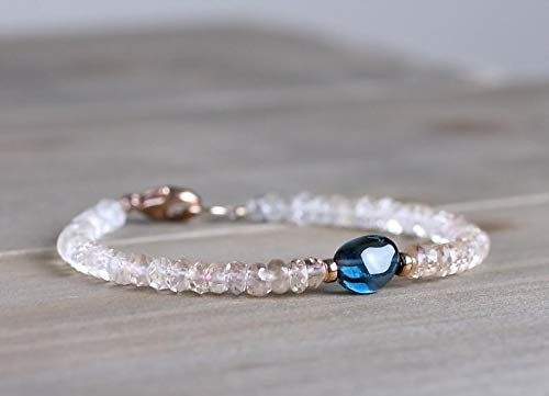 Ombre Imperial Topaz Bracelet with London Blue Topaz Gemstone Bead, Sterling Silver or Rose Gold Filled, Pale Brown Deep Blue Topaz Jewelry by LadoNarayani ()