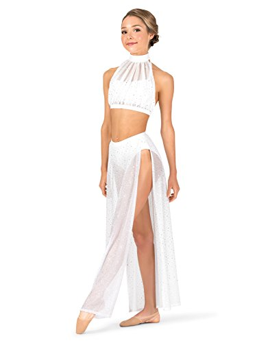 (Womens Performance Twinkle Mesh Side Slit Long Skirt,TW611WHTML,White,ML)