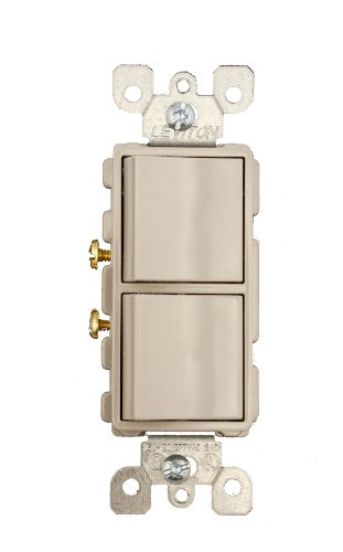 Leviton 5634-GY 15 Amp, 120/277 Volt, Decora Brand Style Single-Pole, AC Combination Switch, Commercial Grade, Grounding, Gray