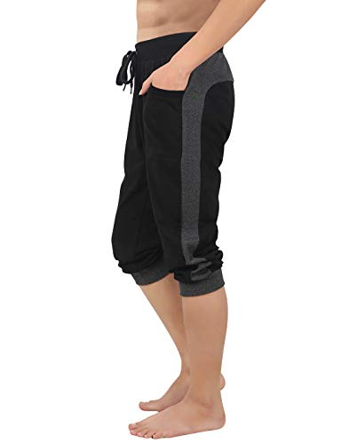 (HDE Men's Cotton Casual Shorts 3/4 Workout Jogger Capri Pants Breathable Below Knee Short Pant with Two Pockets, Medium (Black w Gray Stripe))