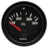 "VDO 310106 Vision Style Electrical Oil Temperature Gauge 2 1/16"" Diameter, 300F"