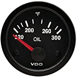 "VDO 310106 Vision Style Electrical Oil Temperature Gauge 2 1/16"" Diameter, 300F"
