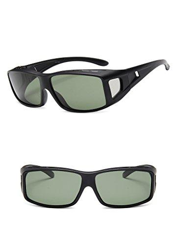 Nuni Unisex Rectangular Frame Side Shield Fit Over Polarized Sunglasses (Matte Black, - Steampunk Spectacles