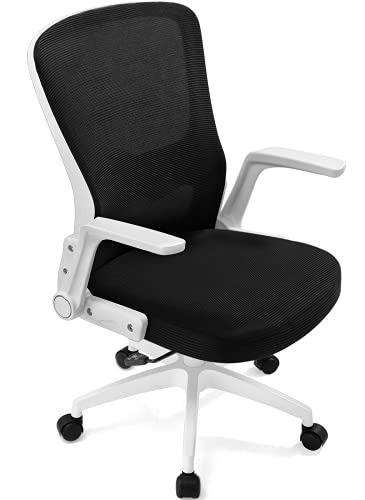 Lucklife Ergonomic Office Chair Desk Chair Modern Executive Home Office Chair,Comfortable Mid Back PC Swivel Mesh Office Chair with Adjustable Arms and Lumbar Support (White)