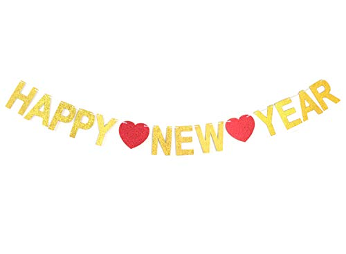GZFY Happy New Year 2019 Banner Gold Glitter Sign for New Years Eve Party Decoration Home Decoration