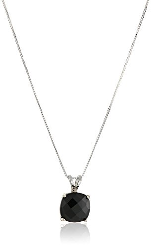 14k White Gold Cushion Checkerboard Cut Onyx Pendant Necklace (8mm)