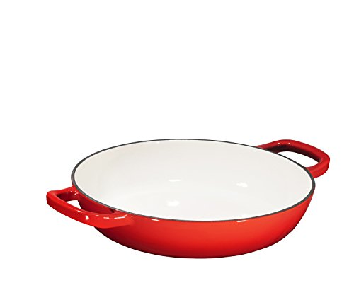 Enameled Cast Iron Casserole Braiser - Pan with Cover, 3.8-Quart, Gradient Red by Bruntmor (Image #6)