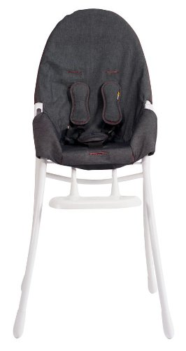 bloom Nano Folding High Chair with White Frame in Downtown Denim