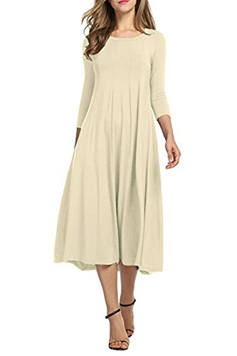 YMING Elegant Dress for Women 3/4 Sleeve Solid Color Dress Beige XL ()