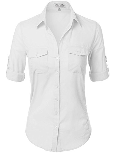 Side Ribbed Panel Stylish Button Down Solid Color Shirts 110-White US M  110-White  US - Embroidered Jersey Romper