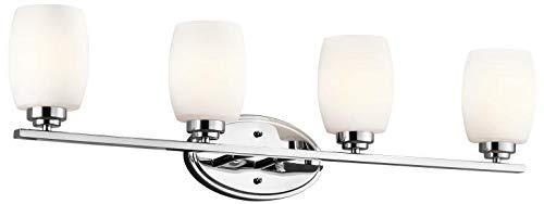 KICHLER 5099CH Bath Vanity Wall Lighting Fixtures, Chrome 4-Light (34