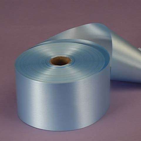 Pastel Blue Embossed Poly Satin Ribbon, 2-3/4