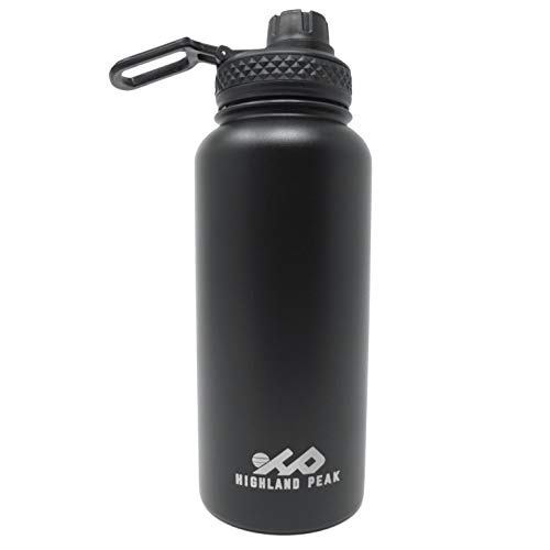 Highland Peak 32 oz Stainless Steel Double Wall Insulated Water Bottle and Beer Growler Wide Mouth Canteen - Hot and Cold - BPA Free Metal Thermos Flask - 1/4 Gallon Jug for Camping, Hiking, Brewery