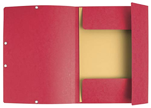 (Exacompta A4 Europa Elasticated 3 Flap Folders, 400 GSM, Red, Pack of 25 )