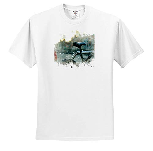 3dRose Anne Marie Baugh - Impressionist Mixed Media Art - Image of Watercolor Bike Seat Art - Adult T-Shirt 3XL (ts_318636_6) White