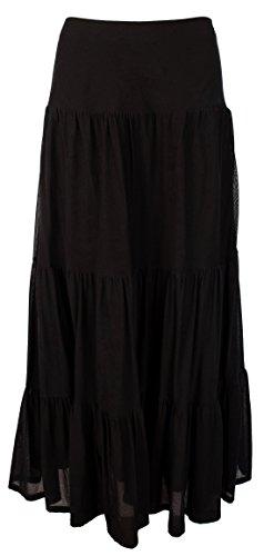 Lauren Ralph Lauren Womens Soundarya Mesh Tiered Maxi Skirt Black L -