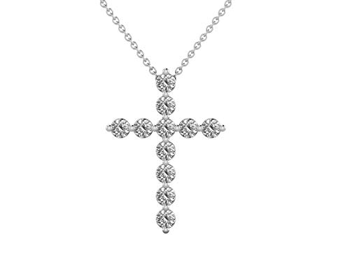 14K White Gold 1/2 Carat (H-I Color,SI2-I1 Clarity) Natural Diamond Cross Pendant Necklace for Women with 18