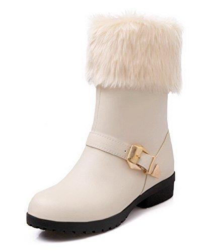 AllhqFashion Damen PU Rund Zehe Niedriger Absatz Ziehen auf Stiefel, Cremefarben, 40