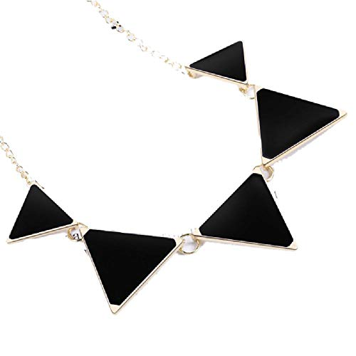 (Luccaful Punk Alloy Plated Geometric Triangle Pendant Necklaces for Women Men Luxury Link Chain Necklace Jewelry Black OneSize)
