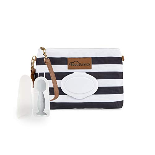 Diaper Clutch Bag and Mini Rash Cream Applicator with Travel Case, Soft Flexible Silicone - Water Resistant; Lightweight; Refillable Wipes Dispenser; Portable Changing Kit (Black + Gray) ...